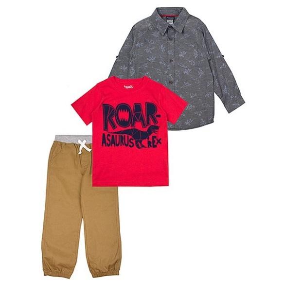 Little Rebels Other - Boys 3 piece set; Button up, Tee & khaki pants